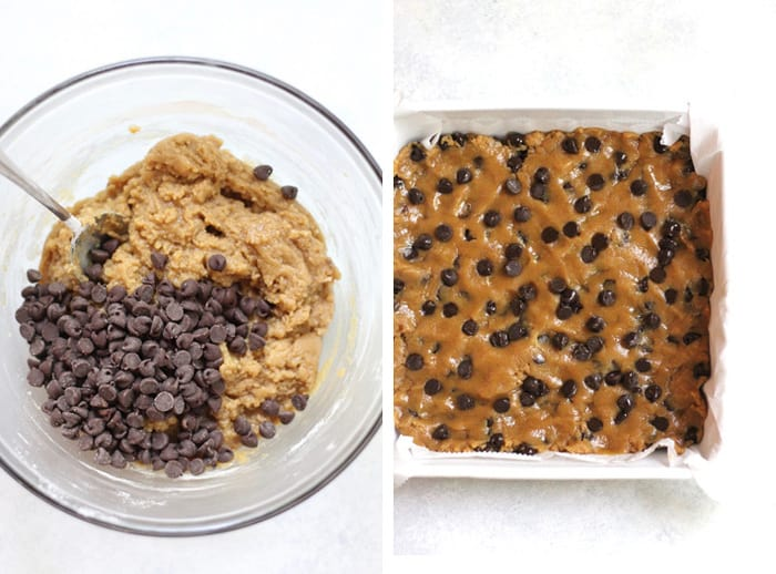Overhead process shots of 1) a glass bowl of the dough with chocolate chips on top, and 2) a square white dish with blondie batter pressed into it.