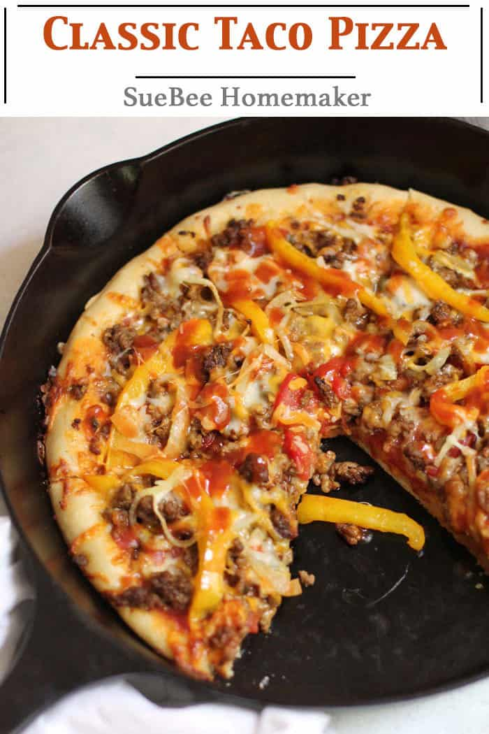 Classic Taco Pizza combines homemade pizza dough with jarred taco sauce, fresh veggies, taco meat, and two kinds of cheese. Unbelievable tasty, and perfect for pizza night! | suebeehomemaker.com | #classictacopizza #tacopizza #homemadepizza #taconight