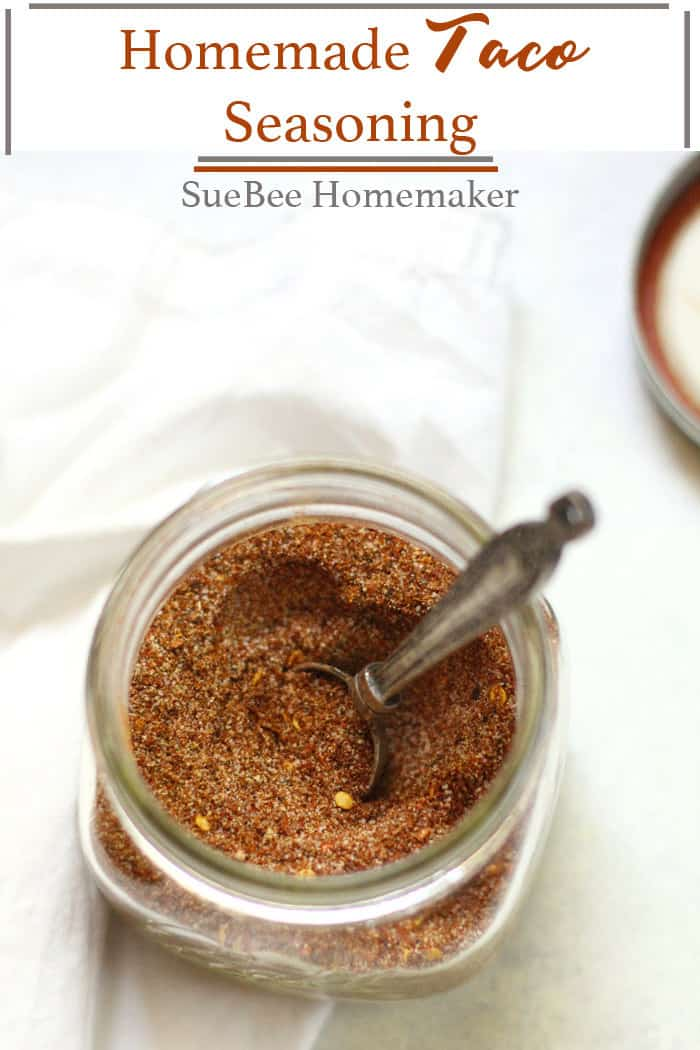 Homemade Taco Seasoning is SO much better than store bought, and takes only a few minutes! Make up a large batch and keep it handy in your pantry for all of your taco nights! | suebeehomemaker.com | #tacoseasoning #tacos #homemadeseasoning #easytacos
