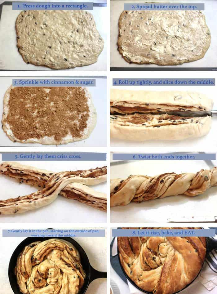 Overhead shots of the steps of 1)pressing the dough out, 2)adding butter, 3) adding cinnamon and sugar, 4) rolling the dough and cutting it, 5) cris crossing the dough, twisting the dough, and putting the twist in the skillet.