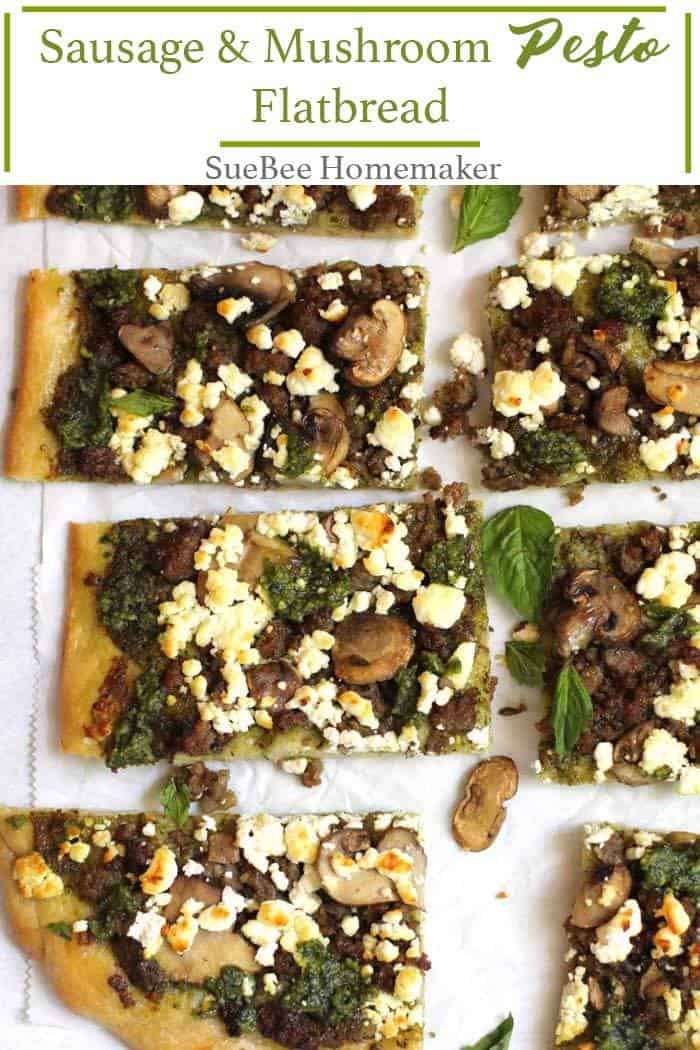 Sausage and Mushroom Pesto Flatbread combines the BEST homemade crust along with homemade pesto sauce, sautéed mushrooms, Italian sausage, and goat cheese. So many great flavors in every bite! | suebeehomemaker.com | #sausageandmushroom #pestoflatbread #flatbread #easyrecipe