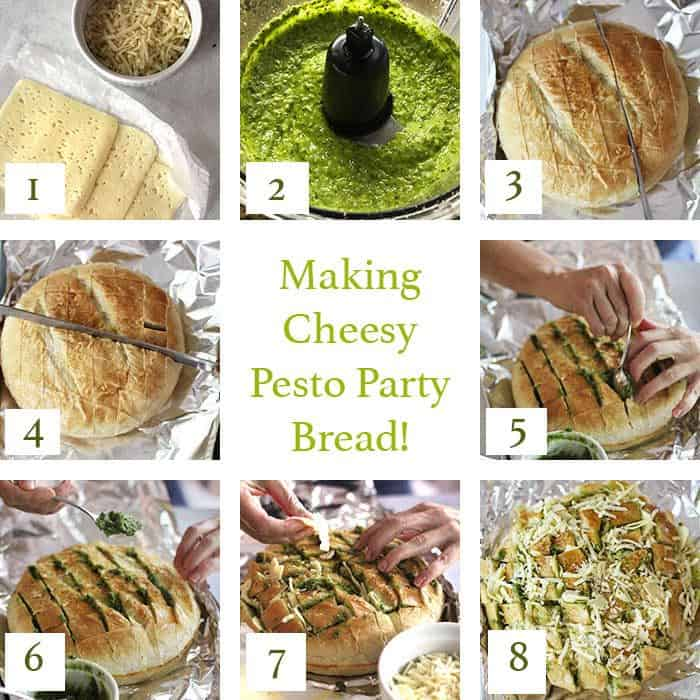 Collage of the 9 steps for making cheesy pesto party bread.