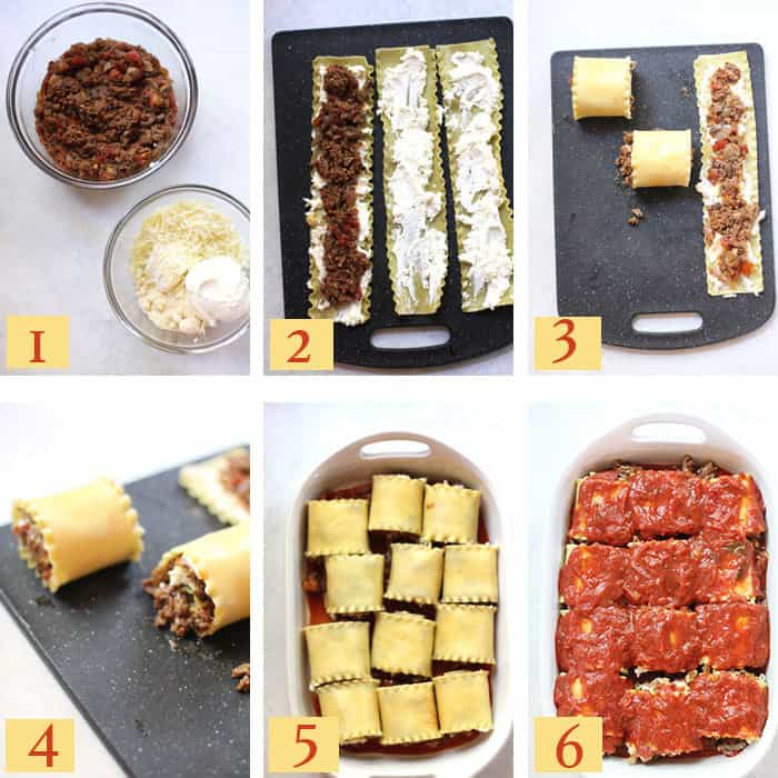 Collage of 6 steps to make the lasagna roll-ups, including the meat and cheese, spooning the mixture on the noodles, rolling them up, and then laying in a white baking dish with spaghetti sauce on top.