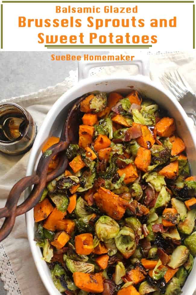 A oblong bowl of Brussels sprouts and sweet potatoes, with a balsamic glaze.