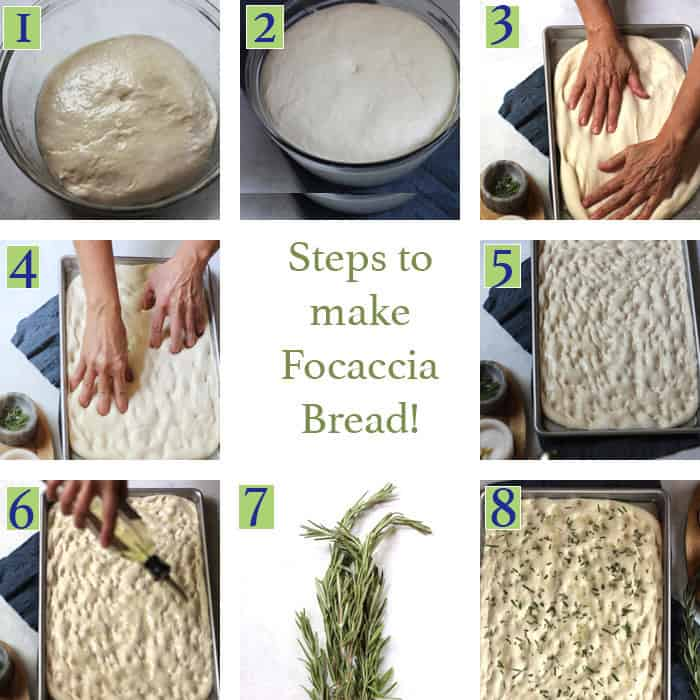 Process shots of the bread dough, pressing it into the pan, using fingers to make indentions, pouring olive oil, and sprinkling with rosemary.