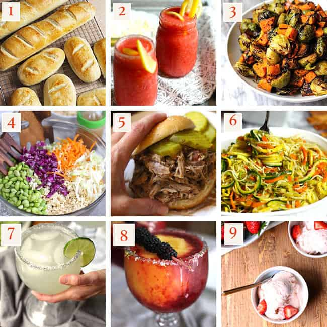 Collage of top 9 recipes of the year - French bread, lemonade vodka slushies, Brussels sprouts and sweet potatoes, asian cabbage salad, pulled pork sandwich, pesto vegetable pasta, skinny margarita, frozen blackberry peach margarita, homemade strawberry ice cream.