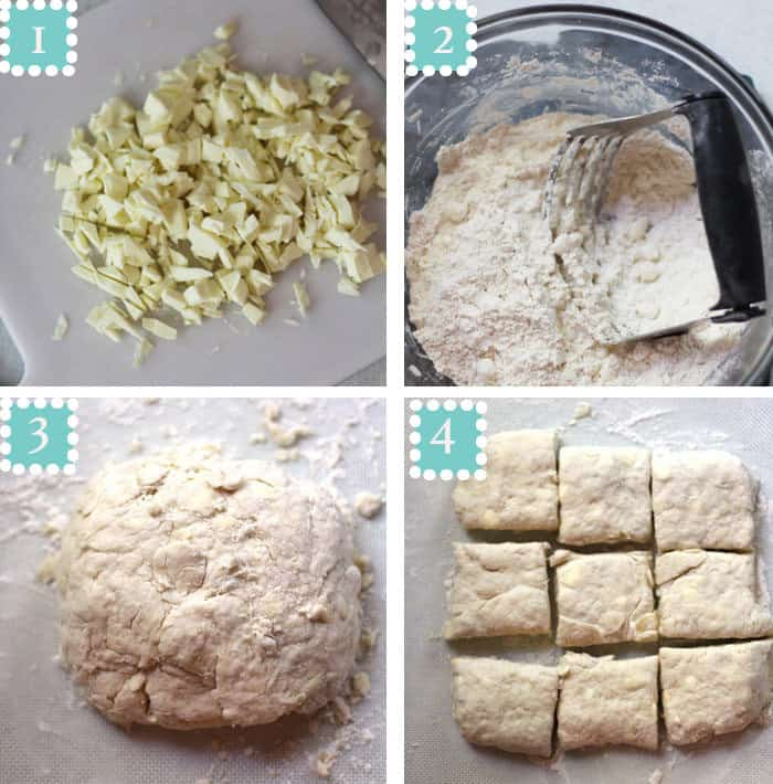 Overhead process shots of 1) shaved butter on a white background, 2) pastry cutter cutting the butter in to the dry ingredients in a glass bowl, 3) the biscuit dough in a ball, and 4) the biscuit dough pressed out, and cut into 9 pieces.