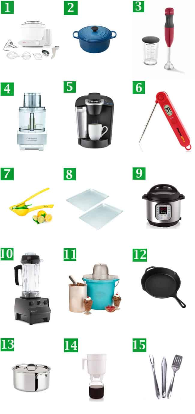 My top 15 gift ideas, shown in a 3x5 grid.
