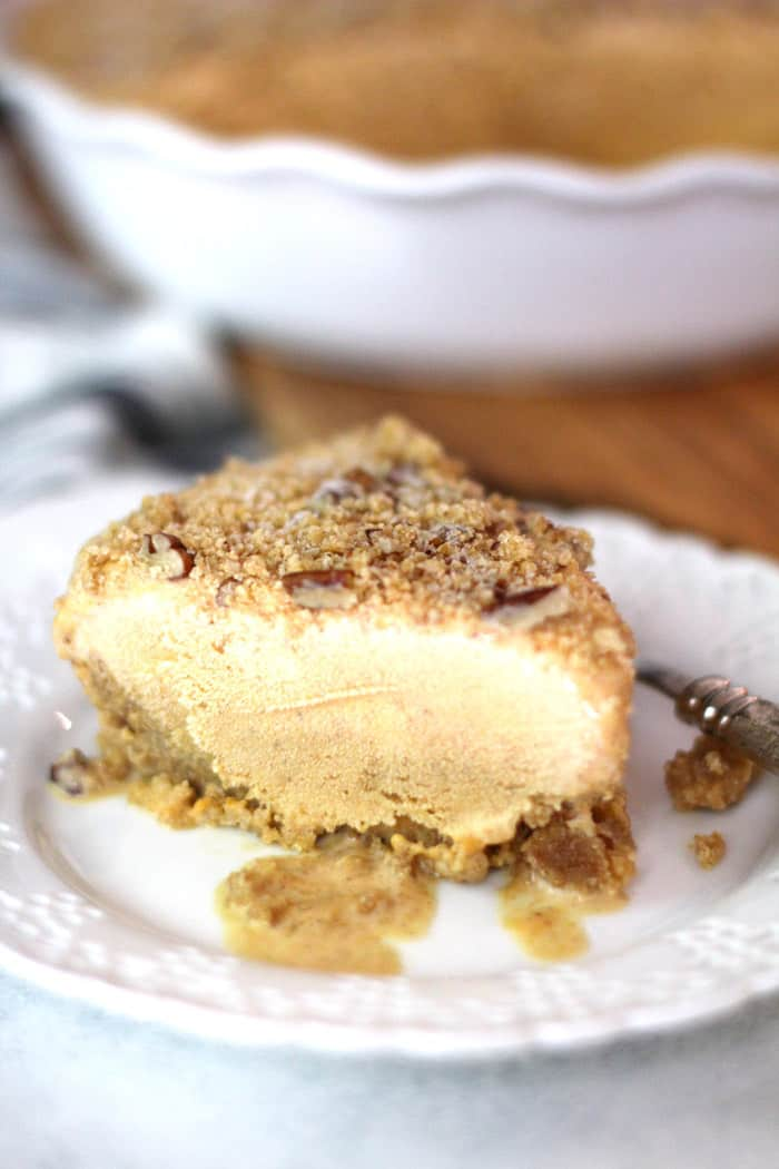 My Pumpkin Ice Cream Pie is an amazing fall dessert, combining ice cream with pumpkin, brown sugar, and fall spices - over a graham cracker crust. | suebeehomemaker.com