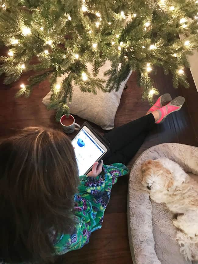 Overhead shot of me shopping on my iPad, by a Christmas tree, with my pup, and a cup of coffee.