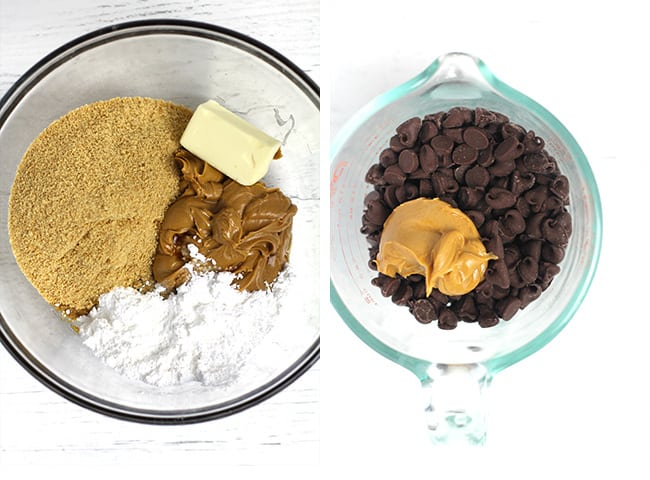 Overhead shot of 1) a bowl of the ingredients, and 2) a measuring cup of the topping ingredients.