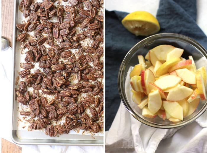 Overhead process shots of 1) baked candied pecans on a baking sheet, and 2) sliced apples in a glass bowl, on blue and white napkins.