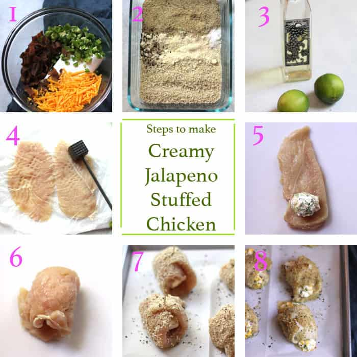 Collage of 8 steps to making this recipe, including ingredients, pounding and stuffing the chicken, and rolling in coating.