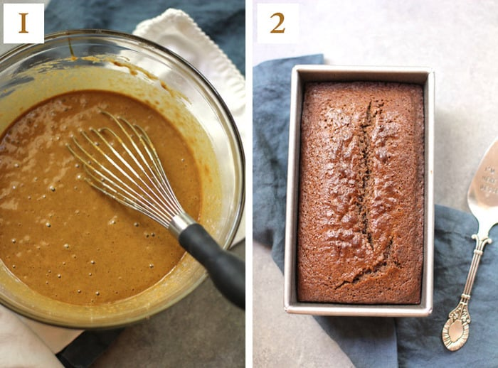 Collage of 1) the gingerbread dough, 2) the baked gingerbread loaf.