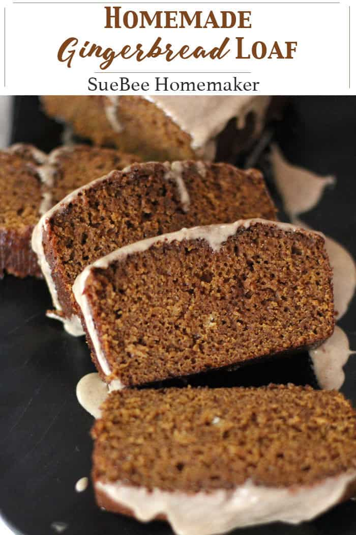 Homemade Gingerbread Loaf is like Christmas in a pan. Slightly sweet, tender bread with a deep molasses flavor and plenty of spices - you definitely want to have THIS on your baking list this year! | suebeehomemaker.com | #gingerbreadloaf #gingerbread #homemadebread #quickbread #holidaybaking #suebeehomemaker
