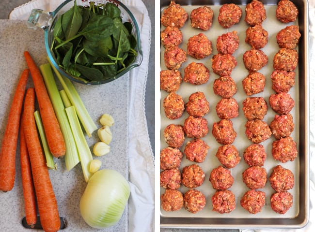 Overhead process shots of 1) all the veggies for the soup, and 2), the mini meatballs on a sheet pan.