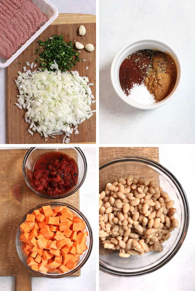 Overhead ingredient shots of 1) ground turkey plus onions, jalapeno, and garlic, 2) the spice combo in a white bowl, 3) bowls of the tomato mix and the chipped sweet potatoes, and 4) a bowl of the white beans.