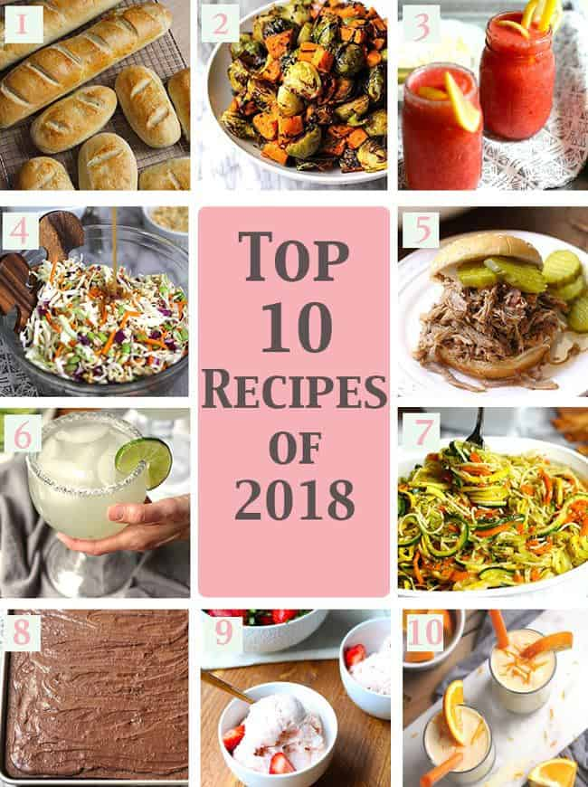 A collage of the top 10 recipes of 2018.