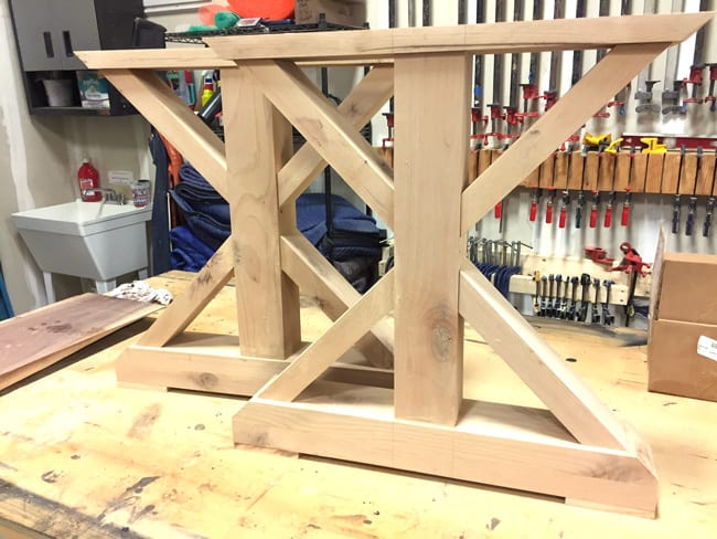 Picture of the table legs, before being stained and treated.
