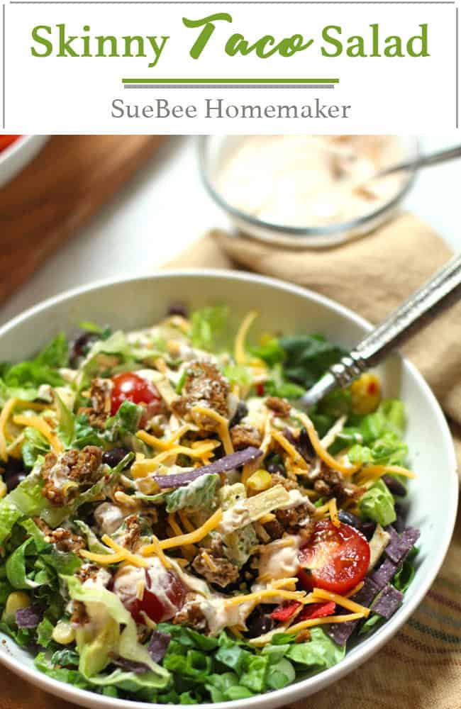 Classic Taco Salad is a skinny Tex-Mex salad, combining lean ground beef, homemade taco seasoning, fresh veggies, tortilla strips, and a homemade creamy chipotle dressing. Super tasty and healthy too! | suebeehomemaker.com | #classictacosalad #tacotuesday #texmex #skinnytacosalad