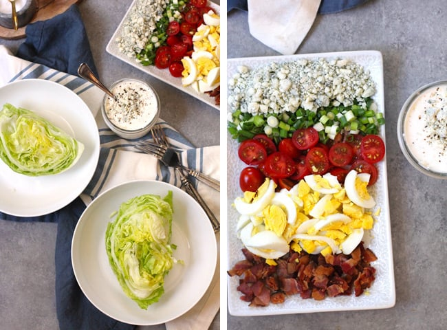 Process shots of 1) the lettuce wedges in white bowls, with the toppings, on a gray background, and 2) a close up shot of all the toppings on a rectangular white plate.
