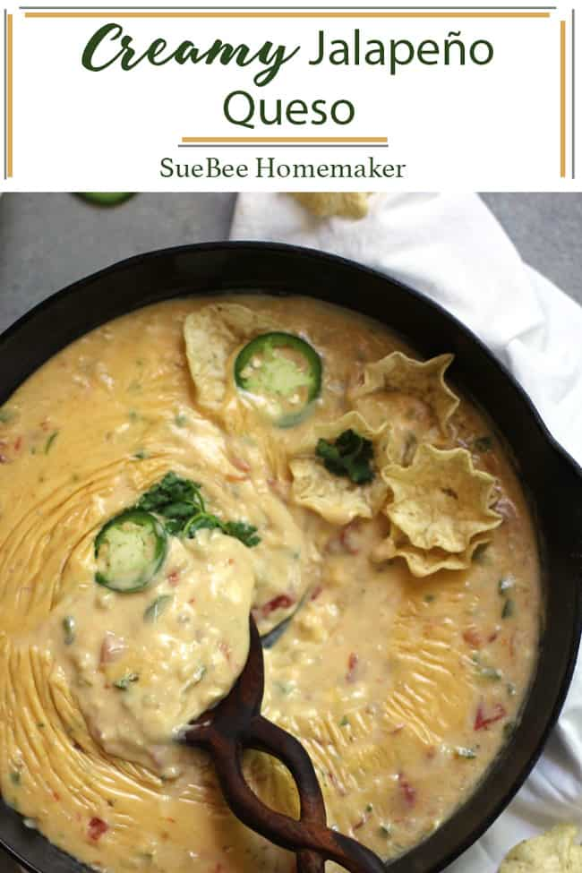 Creamy JalapeñoQueso combines a simple roux with Rotel, milk, plenty of cheese, and jalapeños. Perfect for parties and game day, and you can easily adapt the spice level to your personal preference. | suebeehomemaker.com | #creamyqueso #queso #jalapenoqueso #partyappetizer #gamedaysnack #chipsandqueso