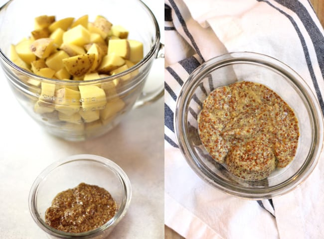 Overhead process shots of 1) the chopped potatoes, and 2) the mustard in a small glass bowl.