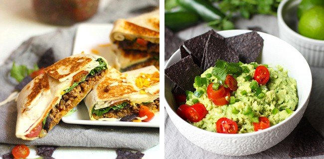 Dinner #4 - pics of taco crunch wraps and chunky guacamole.