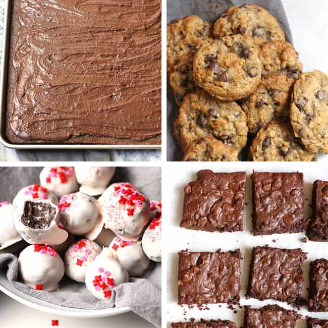 Valentine Dessert choices - 1) Texas Sheet Cake Brownies, 2) Oatmeal Chocolate Chip Cookies, 3) Oreo Truffles, and 4) Triple Chocolate Brownies.