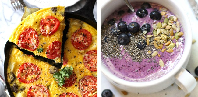 Dinner #5 - pictures of breakfast frittata and blueberry smoothie bowl.