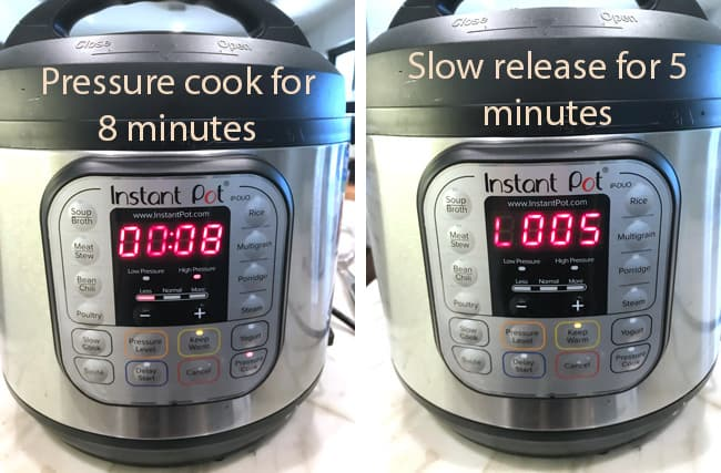 Side process shots of 1) the instant pot showing the pressure cook time, and 2) the instant pot showing the slow release time.
