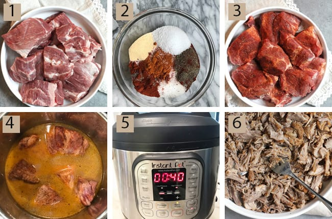 Process shots of 1) the raw pork, 2) the spice rub, 3) the pork with the spice rub, 4) the pork with the marinade on, 5) the instant pot set at 40 min., and 6) the shredded cooked pork.