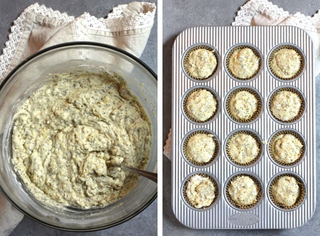 Overhead process shots of 1) the combined muffin batter in a glass bowl, and 2) the muffin batter in the muffin tin.