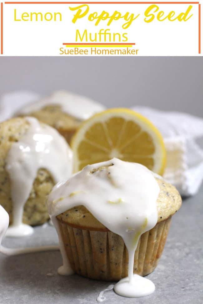 These Lemon Poppy Seed Muffins are light, fluffy, and bursting with poppyseeds and fresh lemon juice. A perfect snack when you are craving something sweet. These will definitely brighten your day! | suebeehomemaker.com | #lemonpoppyseedmuffins #poppyseedmuffins #lemonmuffins #muffins
