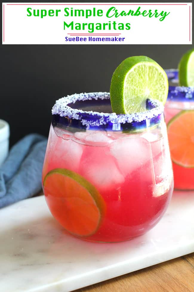Super Simple Cranberry Margaritas combine tequila, orange liqueur, fresh lime juice, and cranberry apple juice. Use a cocktail shaker and plenty of ice to get everything mixed, and a nice salt rim on your glasses. So good!   suebeehomemaker.com   #simplemargaritas #cranberrymargaritas #margaritas #cocktails #easyrecipe