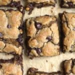 Overhead closeup shot of chocolate peanut butter blondies.