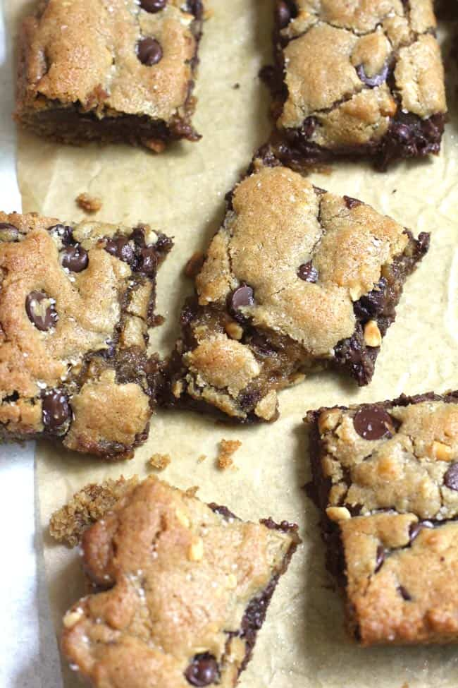 Overhead shot of six chocolate chip peanut butter blondies.