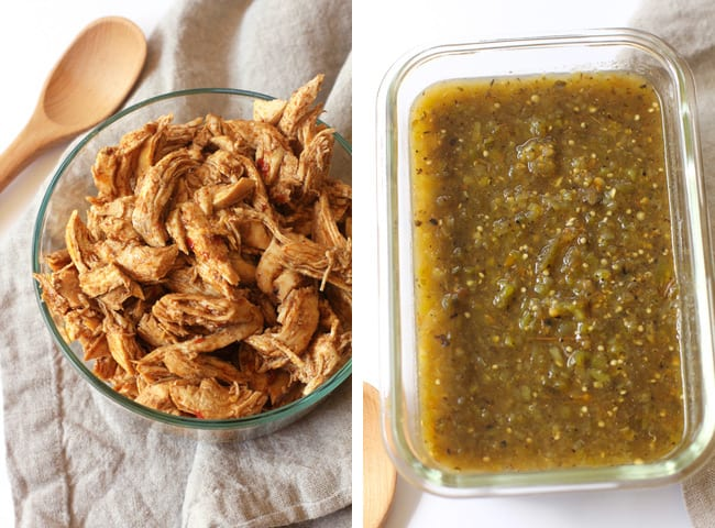 Overhead process shots of 1) shredded chicken, and 2) salsa verde.