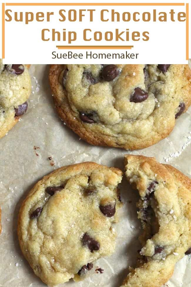 These Super Soft Chocolate Chip Cookies are perfectly soft, slightly browned on the outside with pillowy centers, and loaded with chocolate chips. Best dunked in milk, and eaten in twos or threes! | suebeehomemaker.com | #softchocolatechipcookies #chocolatechipcookies #cookies #softcookies
