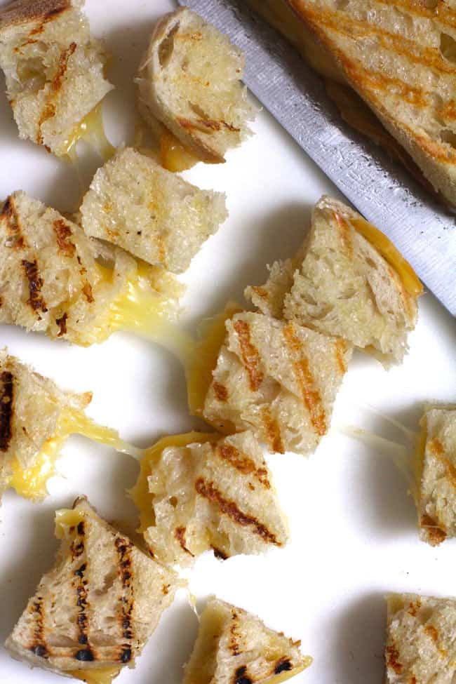 Closeup shot of some grilled cheese croutons.