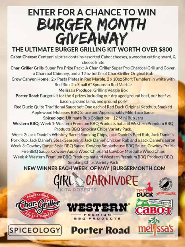 Contest giveaway flyer to win a grill and other burger supplies.