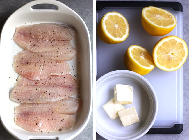 Process shots of 1) the raw tilapia, with seasoning, and 2) the lemon halves and three tablespoons of butter in a small white dish.