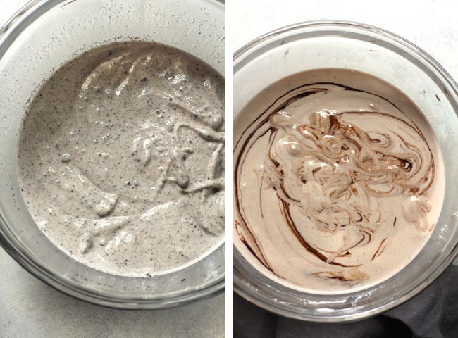 Overhead process shots of 1) Oreo Ice cream in a glass bowl, and 2) chocolate ice cream in another glass bowl.