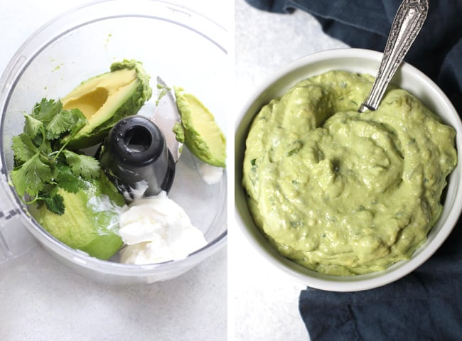 Overhead process shots of 1) the Avocado Crema ingredients in a food processor, and 2) the finished avocado salsa in a round white bowl with a silver spoon.
