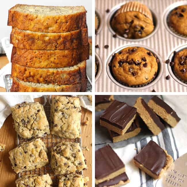 A collage of treats to go with cold brew coffee: 1) banana bread, 2) pumpkin chocolate chip muffins, 3) mini chocolate chip scones, 4) no bake peanut butter bars.