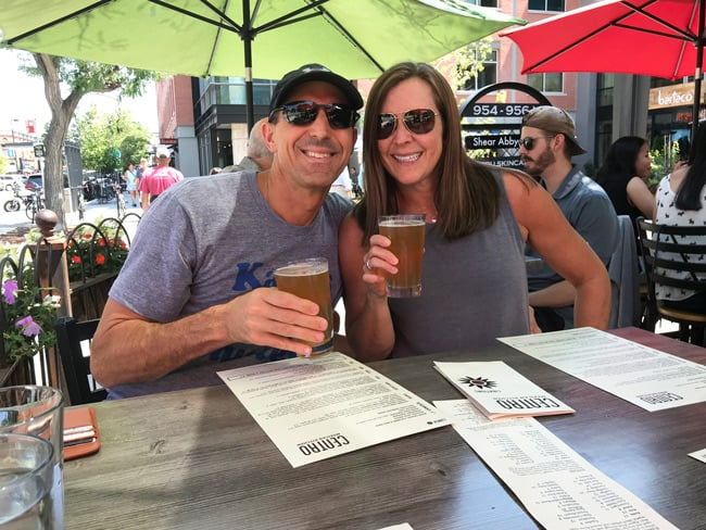Sue and Mike drinking beer in Boulder, Colorado.