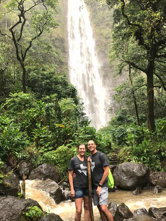 Sue and Mike by a waterfall in Hawaii, in Jan 2017.