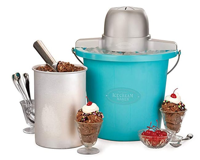 Picture of the Nostalgia electric ice cream maker, with the canister and supplies.