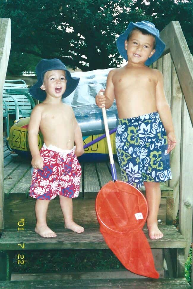 Josh and Zach in their swimsuits at Okoboji.