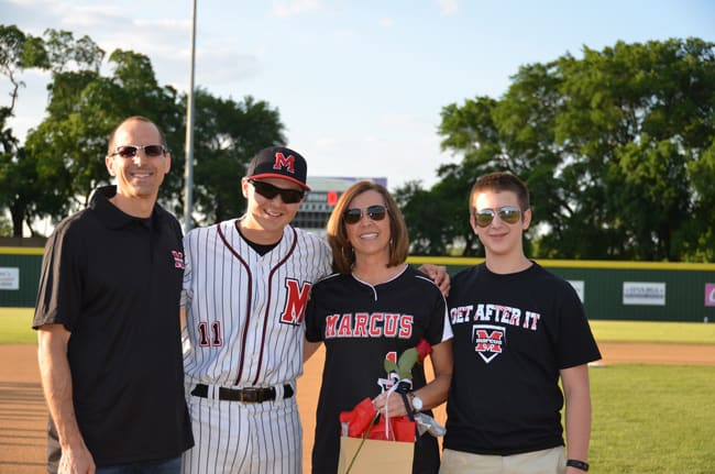 Mike, Josh, Sue, and Zach at Marcus High School Senior Night for baseball.